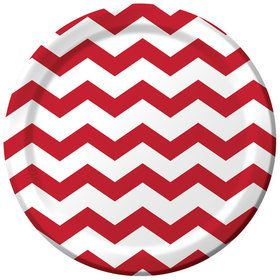 "Red Chevron 9"" Luncheon Plate (8 Count)"