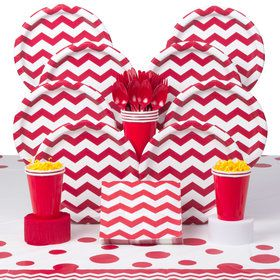 Red Chevron Deluxe Party Tableware Kit (Serves 8)