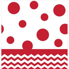 Red Chevron & Dots Table Cover