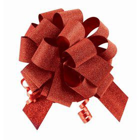"Red Diamond Glitter 5"" Pull Bow (10 Count)"