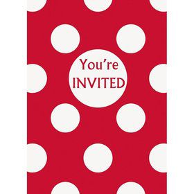 Red Dots Invitations (8 Pack)