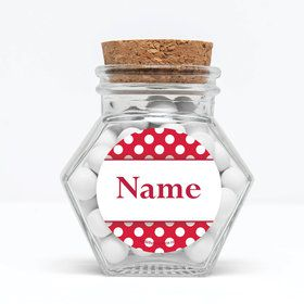 "Red Dots Personalized 3"" Glass Hexagon Jars (Set of 12)"