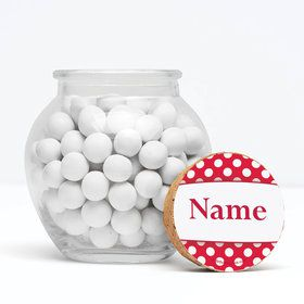 "Red Dots Personalized 3"" Glass Sphere Jars (Set of 12)"
