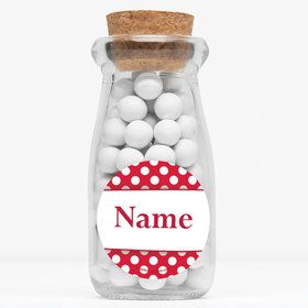 """Red Dots Personalized 4"""" Glass Milk Jars (Set of 12)"""