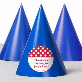 Red Dots Personalized Party Hats (8 Count)