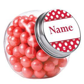 Red Dots Personalized Plain Glass Jars (12 Count)