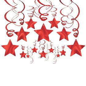 Red Foil Star Hanging Decorations