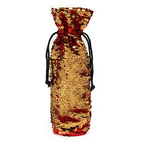 Red Gold Reversible Sequin Wine Bag