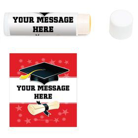 Red Grad Personalized Lip Balm (12 Pack)