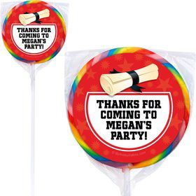 Red Grad Personalized Lollipops (12 Pack)