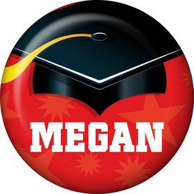 Red Grad Personalized Mini Button (Each)