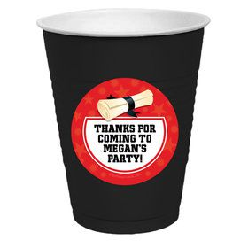 Red Grad Personalized Party Cups
