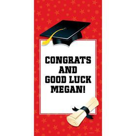 "Red Graduation Personalized Giant Banner 30X6"" (Each)"