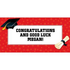 "Red Graduation Personalized Giant Banner 60X3"" (Each)"