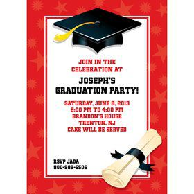 Red Graduation Personalized Invitation (Each)