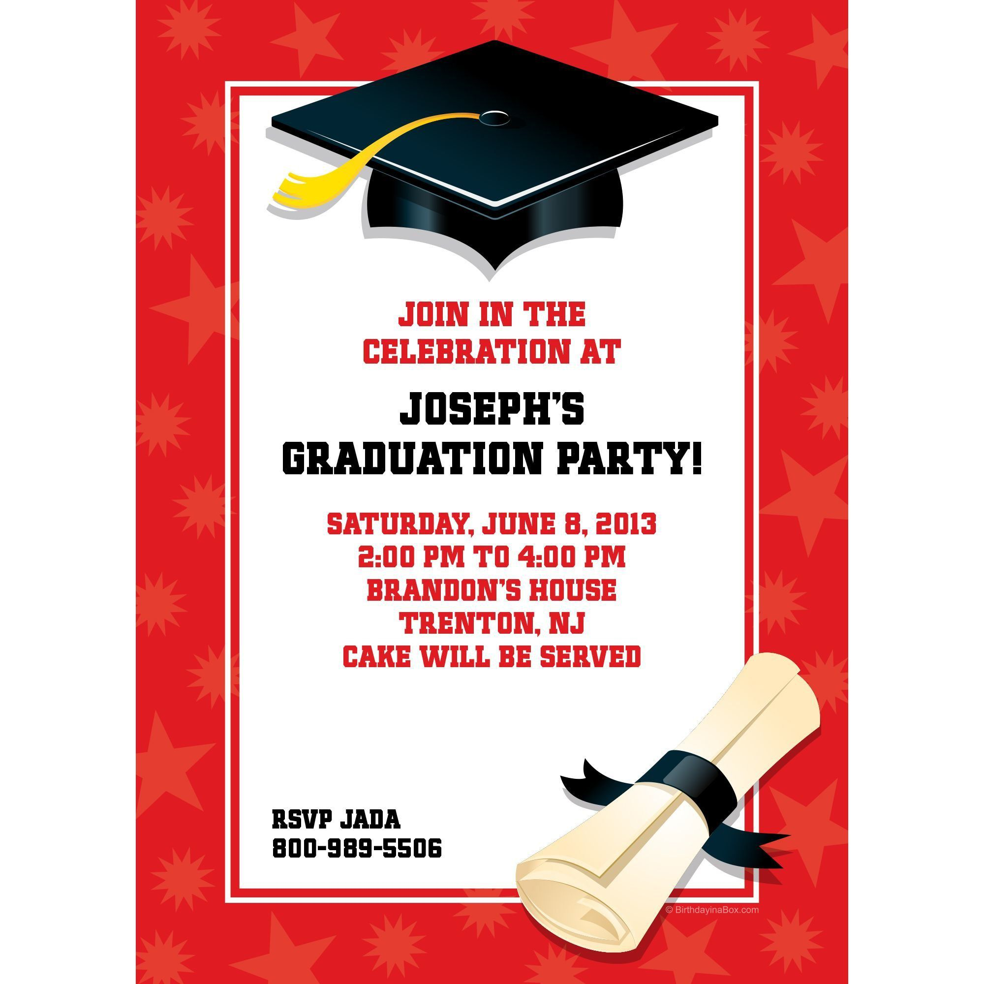 Red Graduation Invitation - Party Supplies