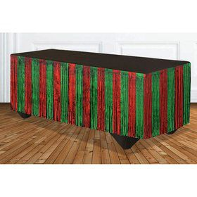 Red & Green Tinsel Table Skirt 14' x 29""