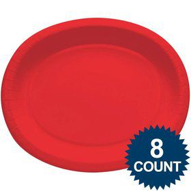 Red Heavy Duty Paper Oval Platter (8 Pack)