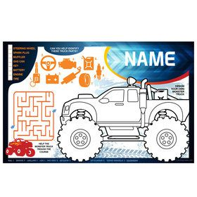 Red Monster Truck Personalized Activity Mat (8 Count)