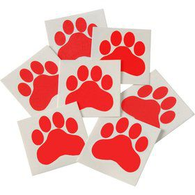 Red Paw Print Tattoos (144 Pack)