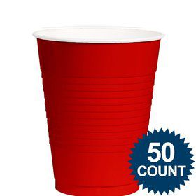 Red Plastic 12 oz. Cup, 50 ct.