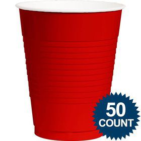 Red Plastic 16 oz. Cup, 50 ct.
