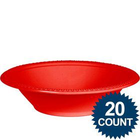 Red Plastic Bowls, 12 oz. (20 count)
