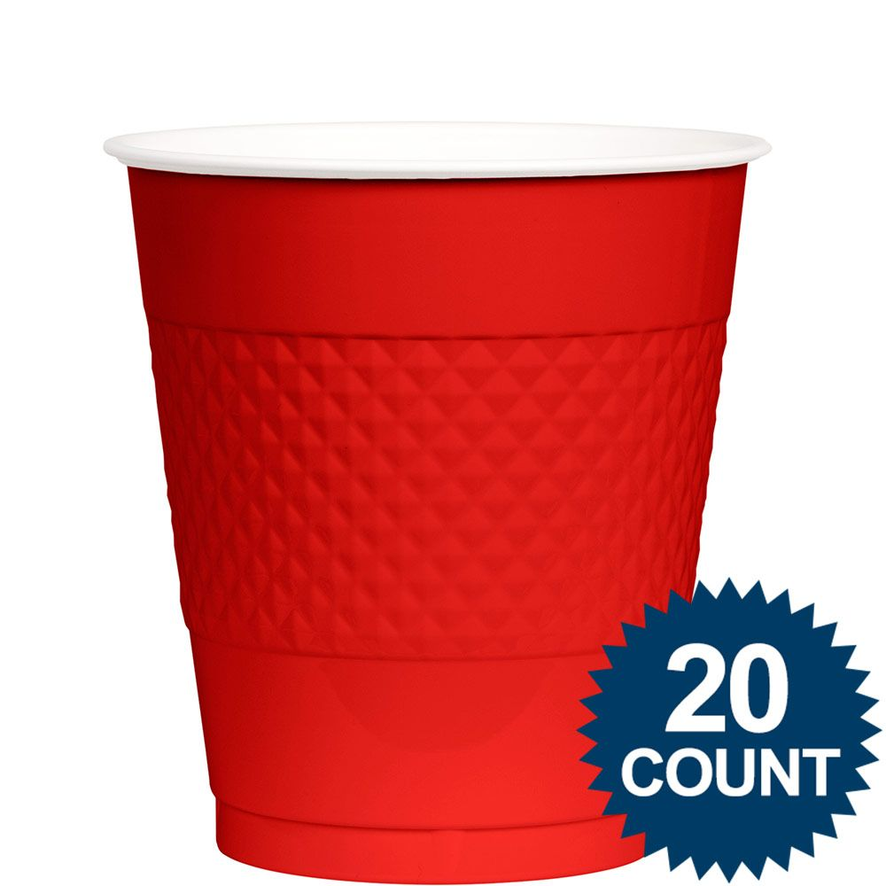 Red Plastic, 12 oz. Birthday Party Supplies Cups BB100310