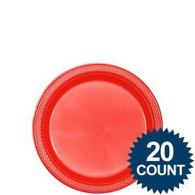 "Red Plastic Plates, 7"" (20 count)"