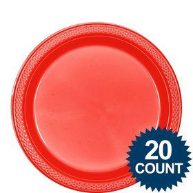 "Red Plastic Plates, 9"" (20 count)"