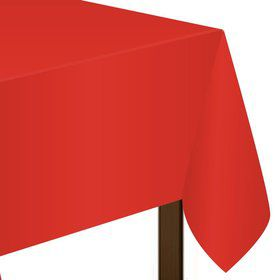 "Red Plastic Tablecover, 54""-108"""