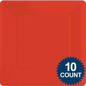 "Red Premium Plastic 10.75"" Square Dinner Plates 10ct"