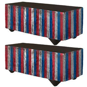 """Red, Silver & Blue Tinsel Fringe Table Skirt 14' x 29"""""""