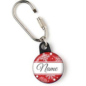 "Red Snowflake Personalized 1"" Carabiner (Each)"