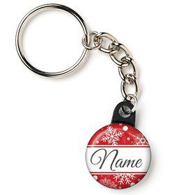 "Red Snowflake Personalized 1"" Mini Key Chain (Each)"