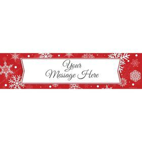 Red Snowflake Personalized Banner (Each)