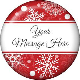 Red Snowflake Personalized Button (Each)