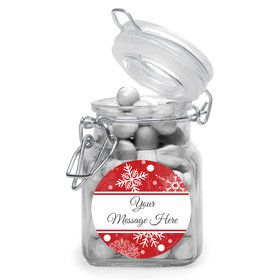 Red Snowflake Personalized Glass Apothecary Jars (10 Count)