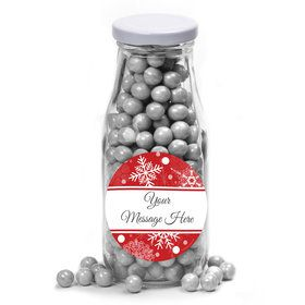Red Snowflake Personalized Glass Milk Bottles (12 Count)