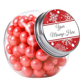 Red Snowflake Personalized Plain Glass Jars (10 Count)