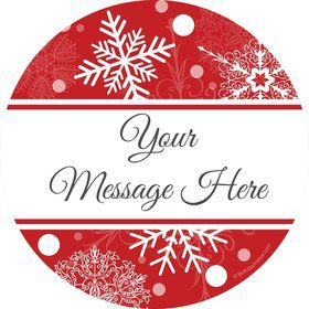 Red Snowflake Personalized Stickers (Sheet of 12)