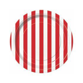 "Red Stripe 7"" Cake Plates (8 Pack)"