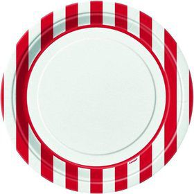 "Red Stripe 9"" Luncheon Plates (8 Pack)"