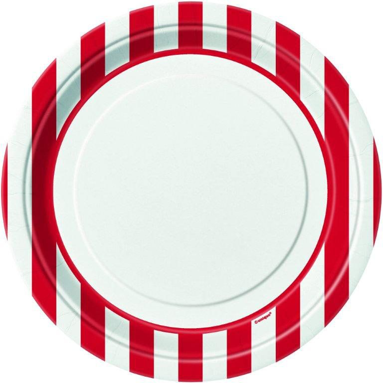 """Red Stripe 9"""" Luncheon Plates (8 Pack) - Party Supplies BB38005"""
