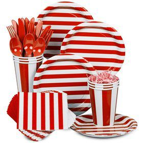 Red Stripe Standard Tableware Kit Serves 8