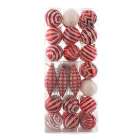 Red White Assorted Ornament Set (42)