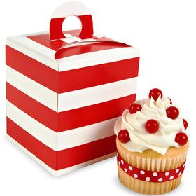 Red White Striped Cupcake Boxes