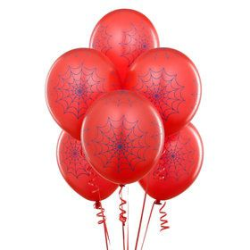 Red with Blue Spider Webs Matte Balloons