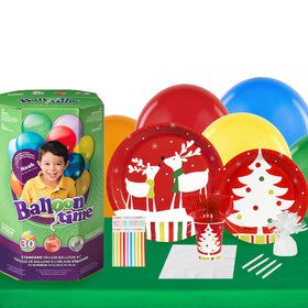 Reindeer Christmas Party 16 Piece Tableware Helium Tank
