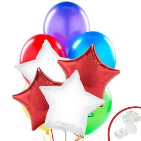 Red & White Star Party Balloon Bouquet